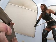 Guy was spanking domme by cane