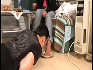 The dominant blonde forces guy to lick her feet