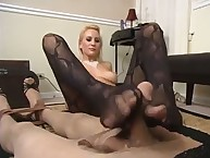 The dominant Emily forced her foot slave by high heels