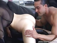 Slave licking and sucking Dominatrix's ass