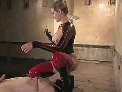 Poor submissive guy had to bear electricity and ass fuck from domina