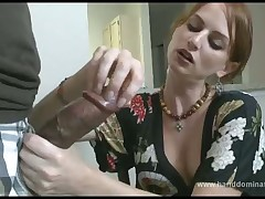 Horny wife made handjob to her husband