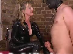 Mistress adores using her bondage slave for sex