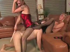 Two sluts were playing hard with their sex slave