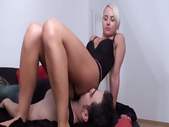 Very sweet and cute blonde and painful handjob for slave