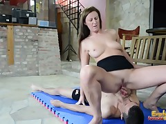 Dominatrix hardcore with facial and slaves