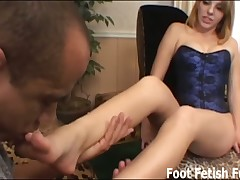 Slave boy likes to lick toes and he is big fan of his mistress