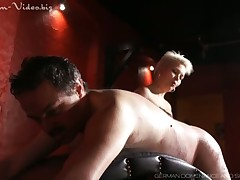 Mistress with blue eyes was caning slave brutally