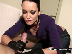 Horny Dominatrixes gave blowjob and handjob to slave