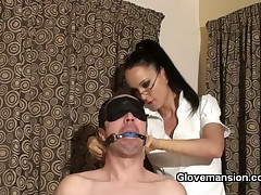 Moody domme is torturing his cock