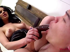 Foot venerate increased by dildo sucking