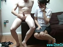 Helpless loser is getting mocked on by domme