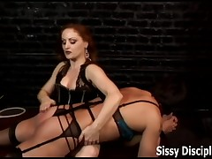 Brill Dolly loves to fuck slave's arsehole with big strapon