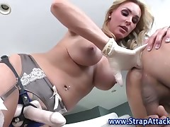 Submissive guy is getting drilled by wife
