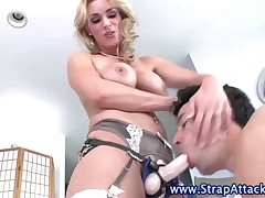 Red strapon fuck for male slave's ass