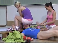 Teen mistresses punishing their sub