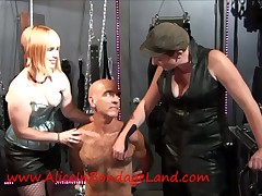 Queasy slave tortured by whores