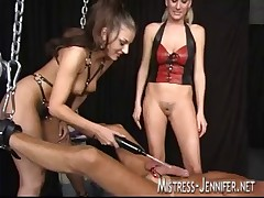Two perverted sluts disgraced helpless slave