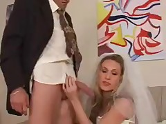 Subby got his knob jerked off by domme