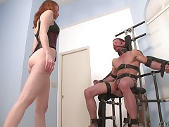 Redhead domme kicked