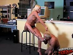 Beauteous domme Shila uses footdom with an increment of spanks a slave.