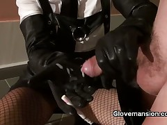 Girl friend with regard to gloves jerked elsewhere slave's unearth waiting for he cum