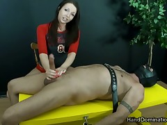 Beamy muscled sub was leap together regarding punished regarding torturous cock stroking