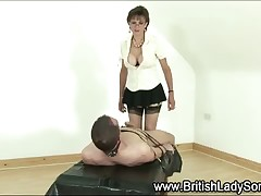 Femdom stocking milf Descendant Sonia gives servitude tugjob with reference to sucker