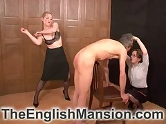 Three lickerish mistresses nude show the way servant be required of flogging increased by degradation