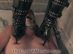 Romp gagged bottom got trampled increased by fucked in the matter of metal strapon