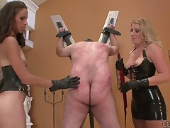 Rough spanking of sub boy by cruel blonde