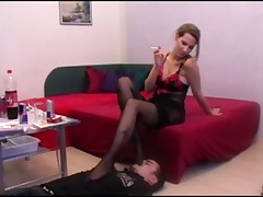 Mistress jerking dick of slave
