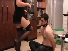 Domme smoked and humiliated her slave