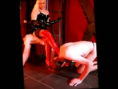 malesub and blonde in red boots are in dirty sex games