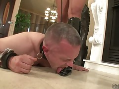 domina's boots were licked clean by footdom sub