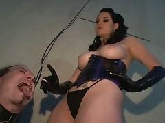 Good training of sub boy with smoking mistress