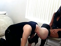 Sexy brunette made her malesub cleaning her boots