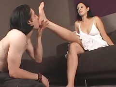 Mistress with dark hair and punishment for sub