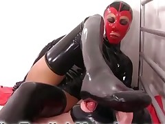 BDSM action with many slaves