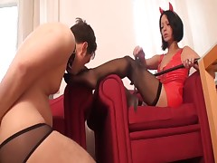 lady in nylons likes slave petting her