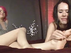 Dominant babe was abusing her sub with her legs