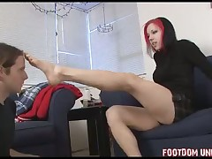 Kinky boots cleaning from slave for his lady