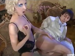 His big black dick enters so deep in holes of Annette
