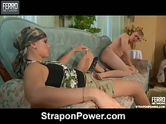Slave's asshole is getting penetrated rough with mistress' strapon
