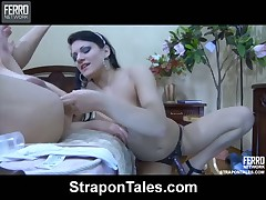 Submissive guy is fucked deep with mistress's big strapon