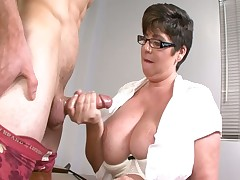 Nasty MILF pervert jerks off her student at college