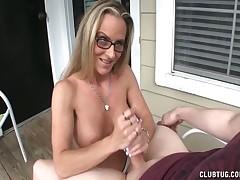 Sexy MILF Chrissy enjoys sensual handjob and cumshot