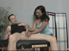 Asian super star babe gives hardcore handjob till cum
