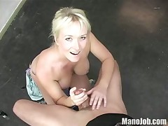 Cute blonde young wife tugging cock with hot passion