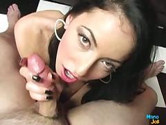 Nasty brunette hottie jerking off big cock and cums